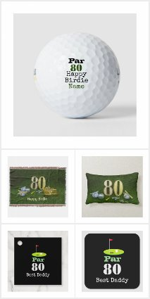 Golf 80th Birthday Cards and Gift Ideas