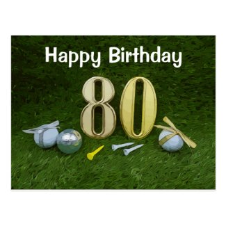 Golf 80th Birthday Postcard