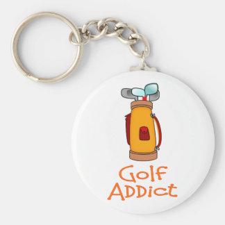 Golf Addict Basic Round Button Keychain