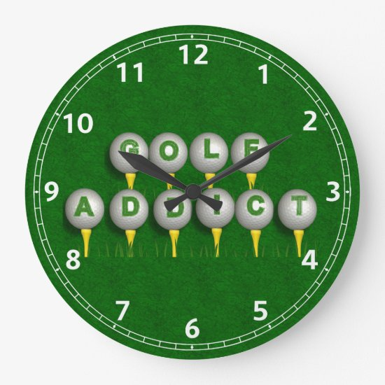 Golf Addict Gifts Large Clock