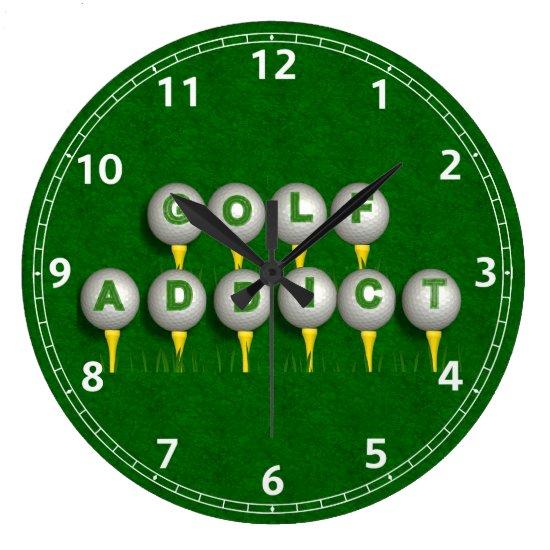 Golf Addict Gifts Large Clock
