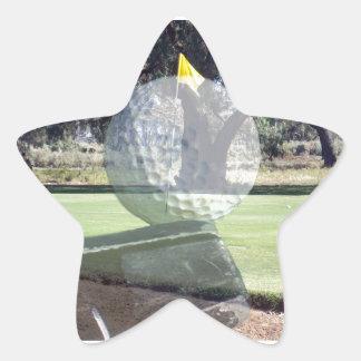 Golf_Addiction, _(de la bola y del club) Pegatina En Forma De Estrella