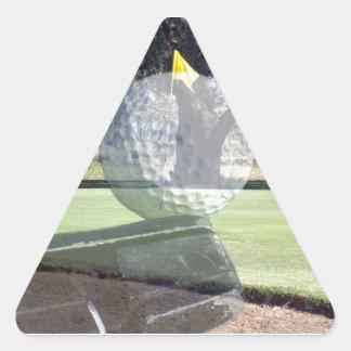 Golf_Addiction, _(de la bola y del club) Pegatina Triangular