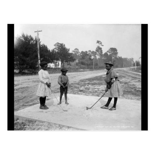 Golf afroamericano c1905 de los niños de postal