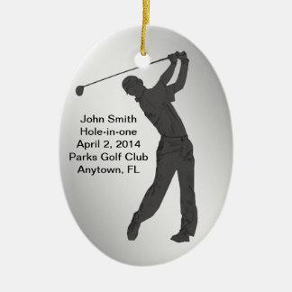 Golf Agujero-en-uno personalizable de la Adorno Navideño Ovalado De Cerámica