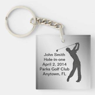 Golf Agujero-en-uno personalizable de la conmemora Llavero Cuadrado Acrílico A Una Cara