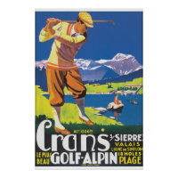 Golf Alpin Vintage Travel Poster