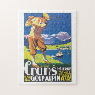 Golf Alpin Vintage Travel Poster Jigsaw Puzzle