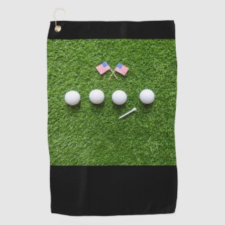 Golf America with 4 golf balls and flag of America Golf Towel