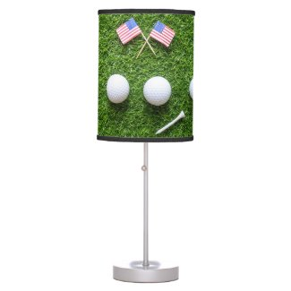 Golf America with 4 golf balls and flag of America Table Lamp