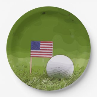 Golf American with golf ball and flag of America Paper Plate