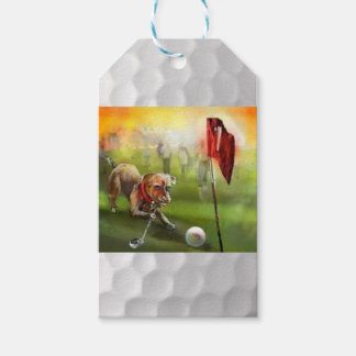 Golf and a dog painting on a gifttag gift tags