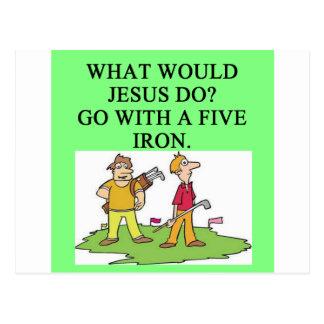 golf and jesus joke postcard