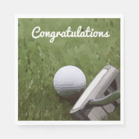 Golf and putter Congratulation Napkin for golfer