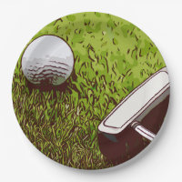 Golf and putter paper plate