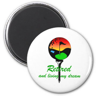 Golf and retirement 2 inch round magnet