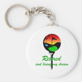 Golf and retirement basic round button keychain
