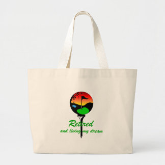 Golf and retirement large tote bag