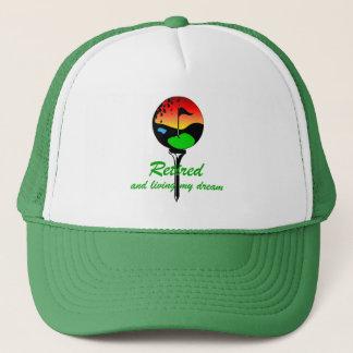 Golf and retirement trucker hat