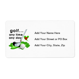 Golf Any Time Any Day T-shirts and Gifts Shipping Label