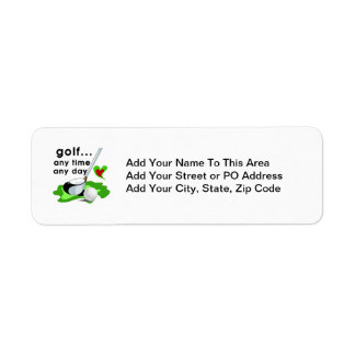 Golf Any Time Any Day T-shirts and Gifts Return Address Label