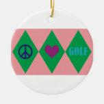 Golf Argyle Christmas Tree Ornament