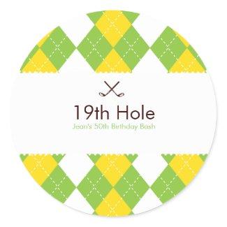 Golf Argyle Gift Label Sticker sticker