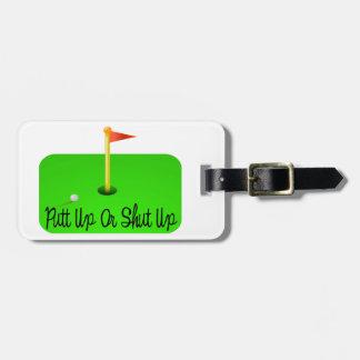 Golf ascendente o cerrado del putt etiqueta para maleta