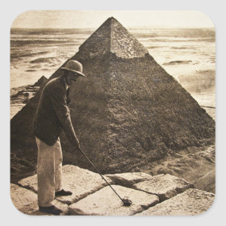 Golf at the Pyramid Sepia Toned Square Sticker
