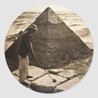 Golf at the Pyramid Sepia Toned Classic Round Sticker