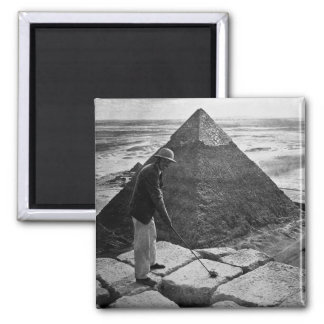 Golf at the Pyramid Vintage Black and White 2 Inch Square Magnet