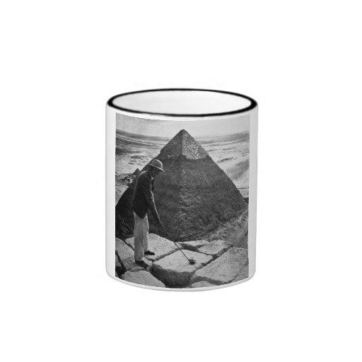 Golf at the Pyramid Vintage Black and White Ringer Coffee Mug