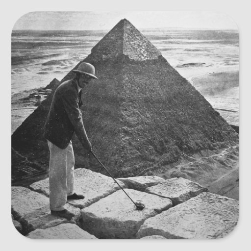 Golf at the Pyramid Vintage Black and White Square Sticker