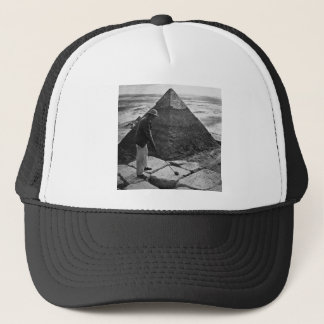 Golf at the Pyramid Vintage Black and White Trucker Hat