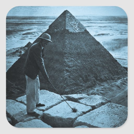 Golf at the Pyramid Vintage Blue Toned Square Sticker