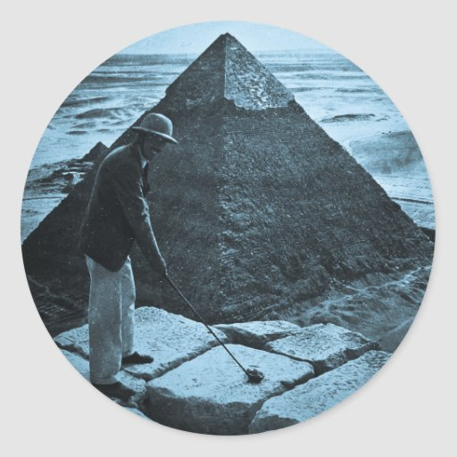 Golf at the Pyramid Vintage Blue Toned Stickers