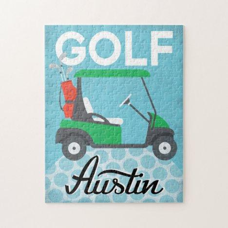 Golf Austin Texas - Retro Vintage Travel Jigsaw Puzzle