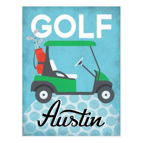Golf Austin Texas - Retro Vintage Travel Postcard