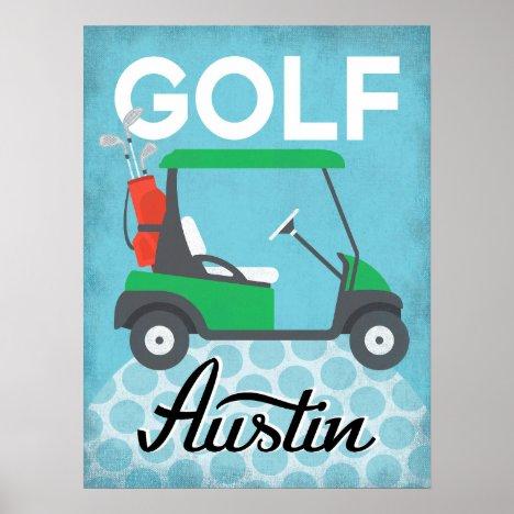 Golf Austin Texas - Retro Vintage Travel Poster