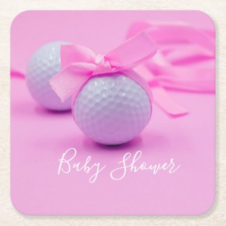 Golf baby shower baby girl with pink ribbon square paper coaster
