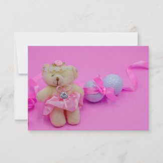 Golf Baby Shower Girl with bear and golf ball pink