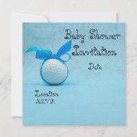 Golf Baby Shower with blue ribbon on blue