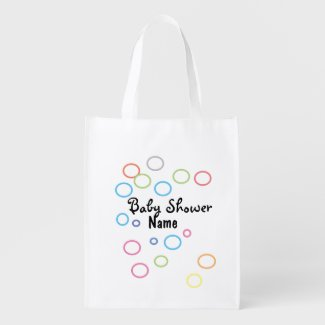 Golf baby shower with colourful golf ball grocery bag