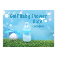 Golf baby Shower with golf ball and milk bottle Invitation