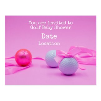 Golf baby shower with golf ball and pink ribbon postcard