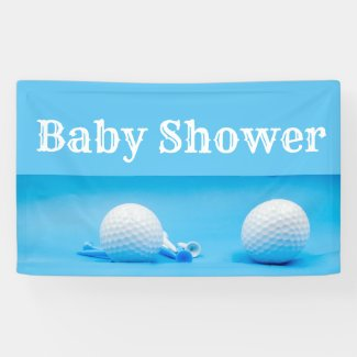 Golf baby shower with golf ball and tee on blue banner