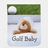 Golf baby with bear in bed with golf ball on green baby blanket