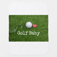 Golf baby with love and ball on green grass baby blanket