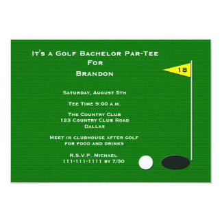 Golf Bachelor Party 18th Golf Hole 5x7 Paper Invitation Card
