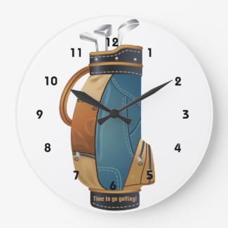 Golf Bag Design Wall Clock